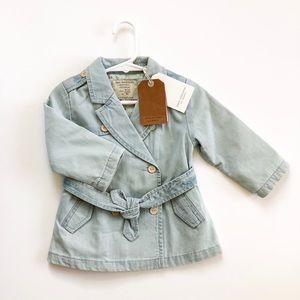 NWT ZARA Baby Girl Denim Trench Jacket
